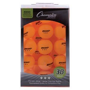 38 table tennis balls, orange