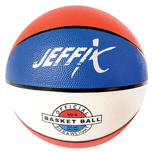 Rubber basketball, blue / white / red
