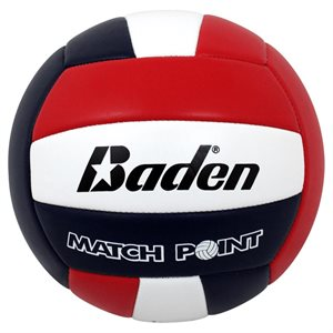 Stitched indoor volleyball, red / white / black