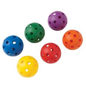 Set of 6 perforated plastic balls