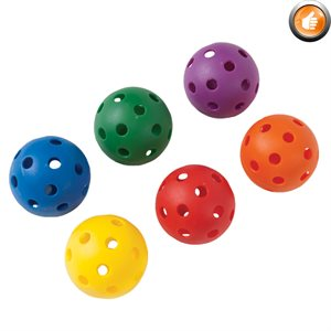 Set of 6 perforated plastic balls