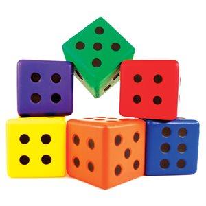 """Set of 6 foam dices, 3"""""""