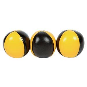 3 juggling balls, black and yellow