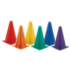 """6 fluorescent plastic cones, 9"""""""