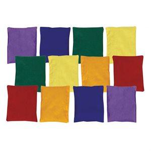 "12 mixed rainbow beanbags, 5""x4"""