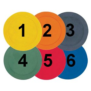 6 numbered rubber spot markers