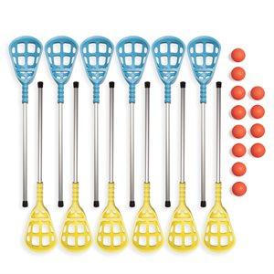 12 intercrosse sticks and 12 balls