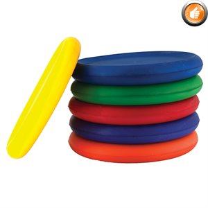 6 vinyl-covered foam frisbees